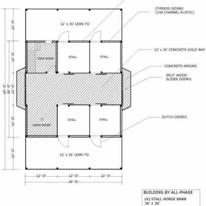 36x36 Option 1 4 Stall 1st Floor Plan with 2 12x36 lean-tos