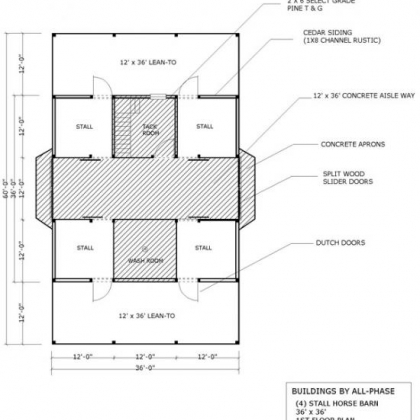 36x36 Option 3 4 Stall 1st Floor Plan with 2 12x36 lean-to