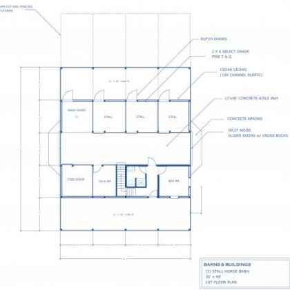 36x48 3 STALL BARN HOME 1st FLOOR PLAN