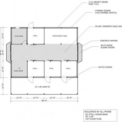 36x48 Option 2 4 Stall 1st Floor Plan with 1 12x48 lean-to