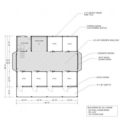 36x48 Option 5 6 Stall Horse Barn 1st Floor Plan