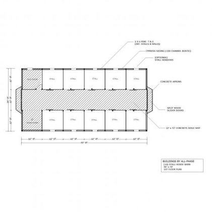 36x72 Option 6 10 Stall Horse Barn 1st Floor Plan