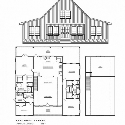 Gable 3 Bedroom  25 Bath 3567 Total Living Sqft