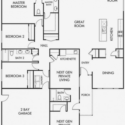 Home Floor Plan 3 bedroom  2 bath with private guest suite and 2 car garage